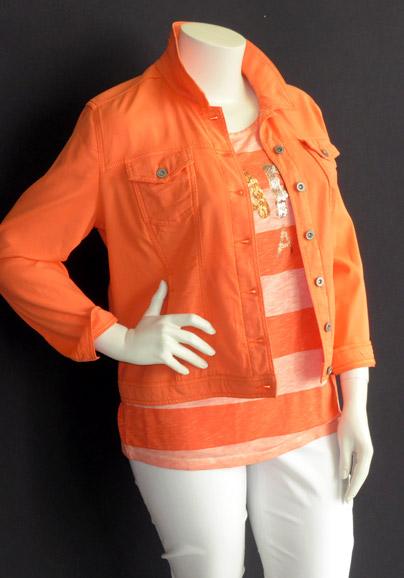 "Jacke ""via appia"", orange   Top ""via appia"", orange   Hose ""robell"", weiß"